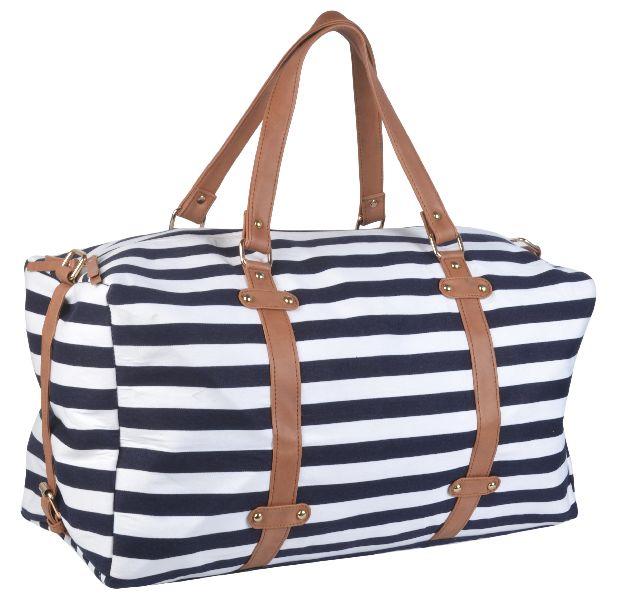 KLEIO Unisex Striped Duffle Weekend Bag (EDK1013KL-BU)