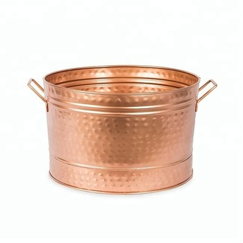 Copper hammered planter