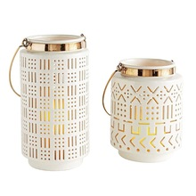 White Moroccan lantern candle holder
