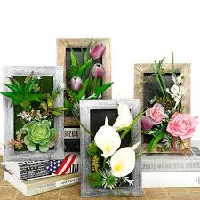 Artificial Flowers With Wall Frame