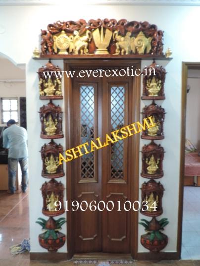 Bavas Wood Works Pooja Room Door Frame And Door Designs: Ashtalakshmi Door For Pooja Room Manufacturer In Bangalore