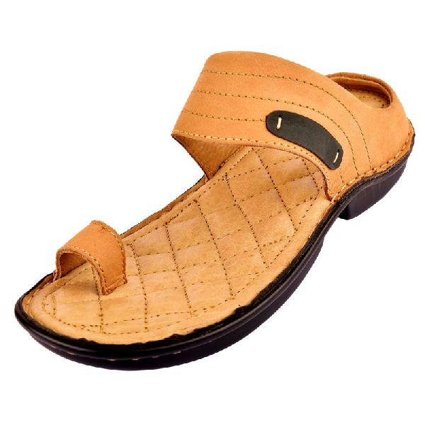 Mens Tan Leather Slippers