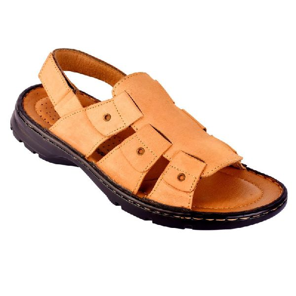 Mens Light Brown Leather Sandals
