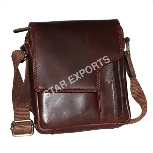 Brown Leather Mens Sling Bag