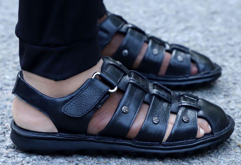 Mens Black Leather Sandals