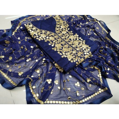 Unstitched Embroidered Cotton Suit