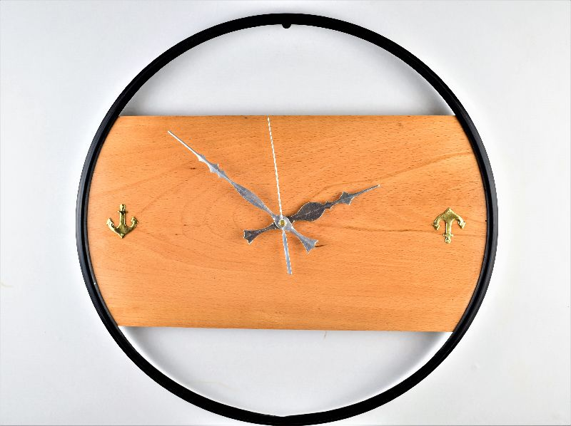Noor Handicrafts Nautical Handcrafted Wooden Premium Antique Wall Decor Wooden Clock with Black Ring