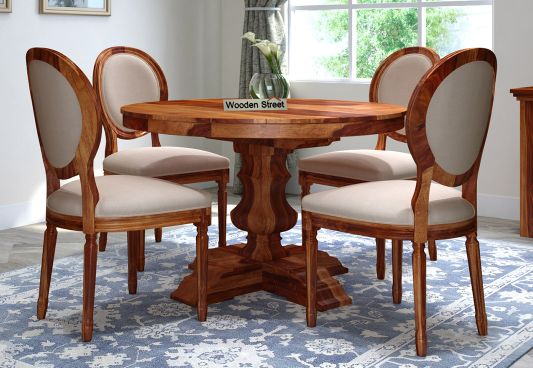 Clark 4 Seater Round Dining Set, Round Dining Set For 4