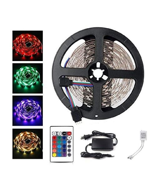 Led Strip RGB Remote Control LED Strip Light for Home Decoration with 2A Adapter (Multicolour, 5050