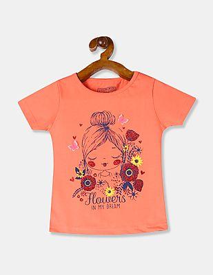 Girls Round Neck T Shirt