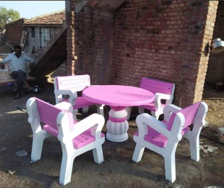 Pink Cement Table Chair Set