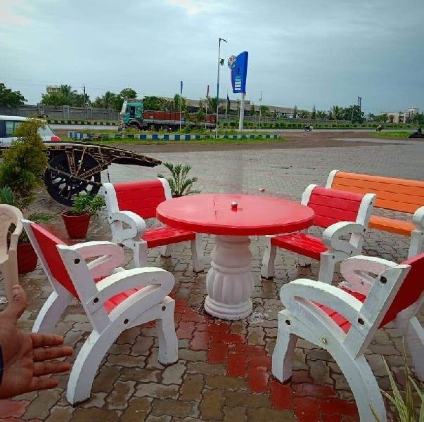 Red Cement Table Chair Set