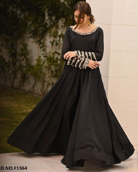 Latest Fancy Georgette Embroidered Gown-F1364