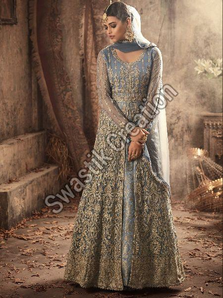 Semi Stitched Gown Suit