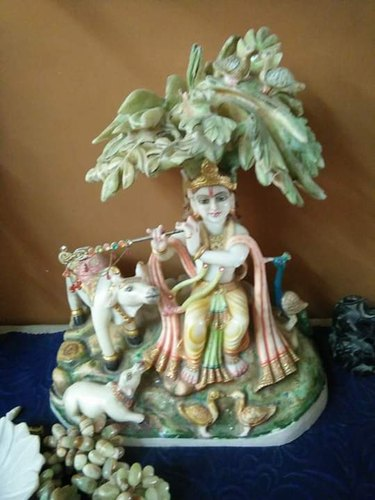 Marble Cow and Krishna Statue