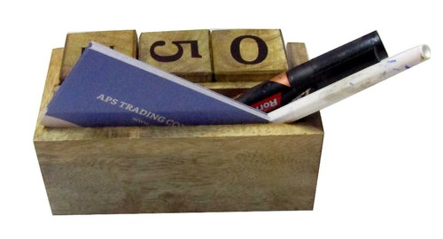 Wooden Table Calendar with Card Holder