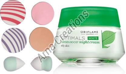 Oriflame Sweden Optimals White Oxygen Boost Night Cream with Puff Sponge Combo