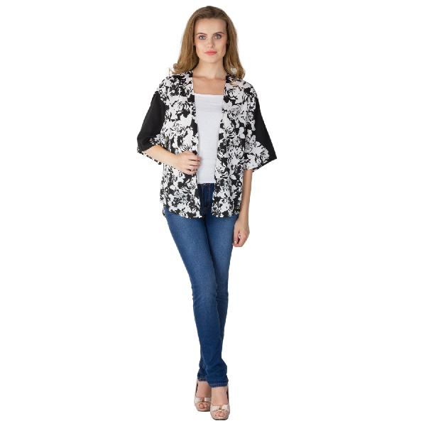 f7266e5f325b5 Ladies Printed Black Shrugs Manufacturer   Manufacturer from Noida ...