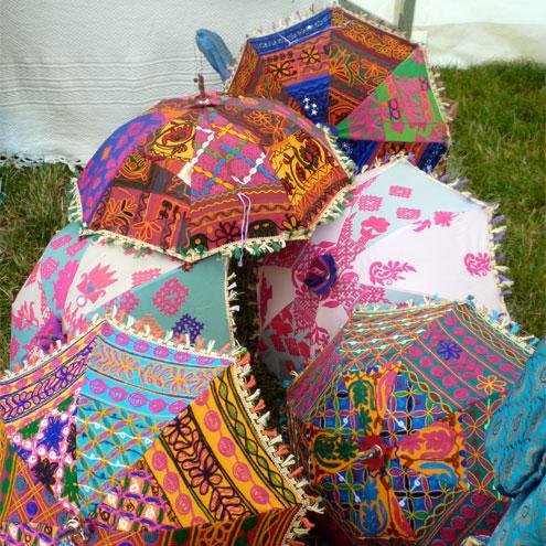 Vintage sari parasols