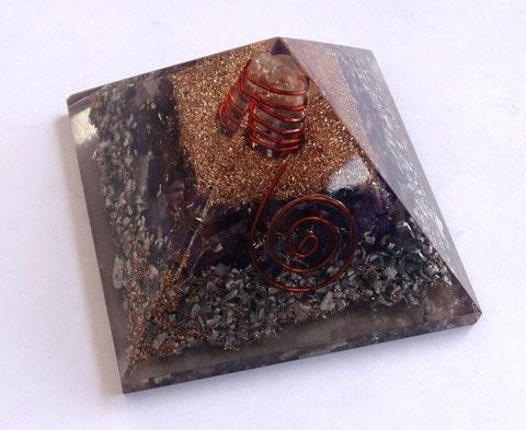 Amethyst Orgone Layer Aluminium Pyramid with Point