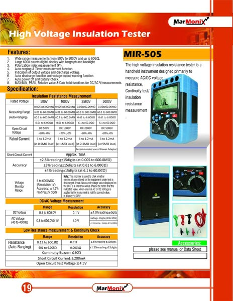 High Voltage Tester Manufacturers : Multimeter manufacturer offered by marmonix corporation