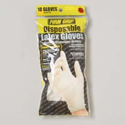 Gloves Disposable Latex 10 Ct Bagged Firm Grip (LI-13510)