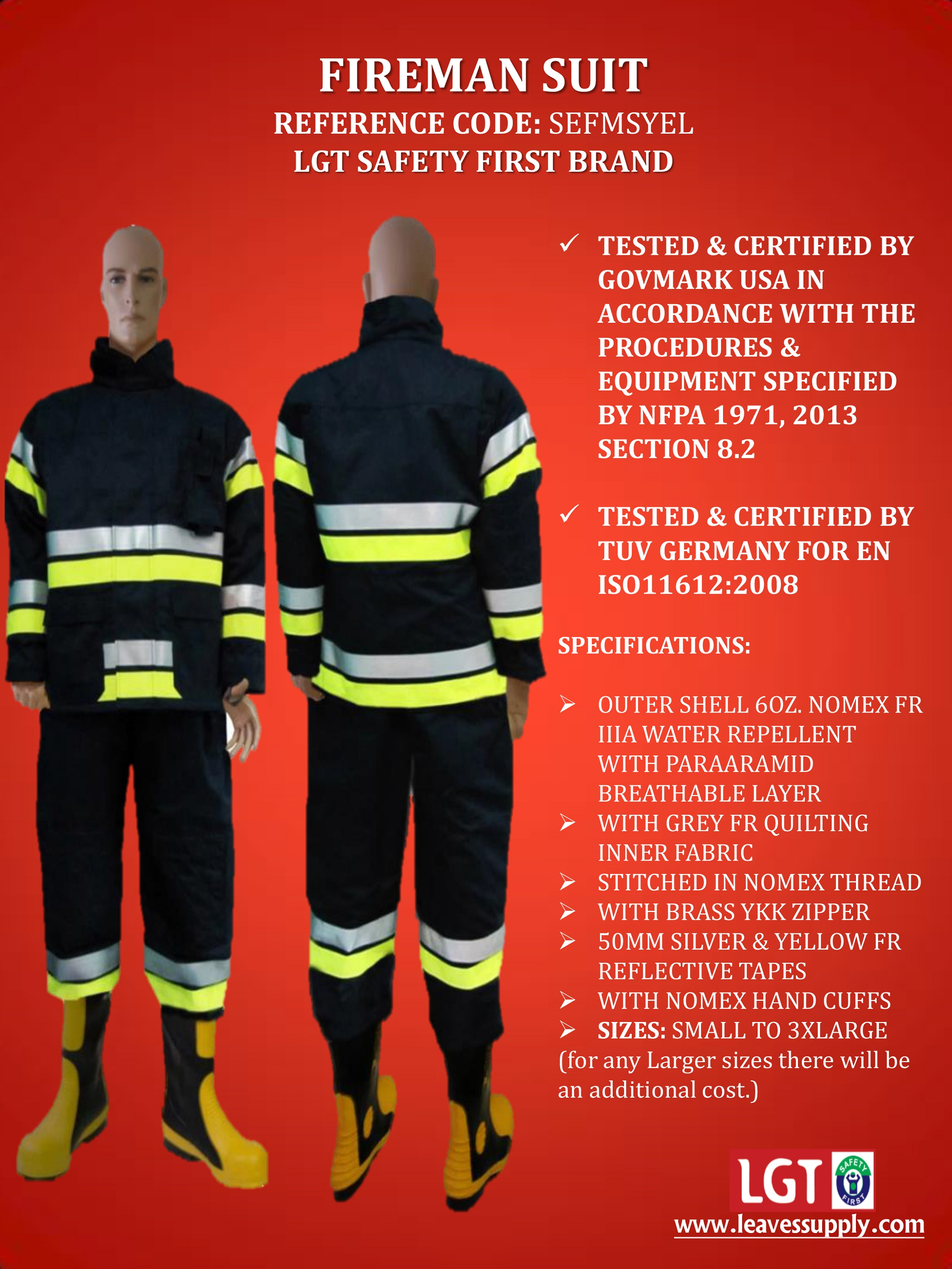 Fireman Suits Manufacturer in Dubai United Arab Emirates by LEAVES