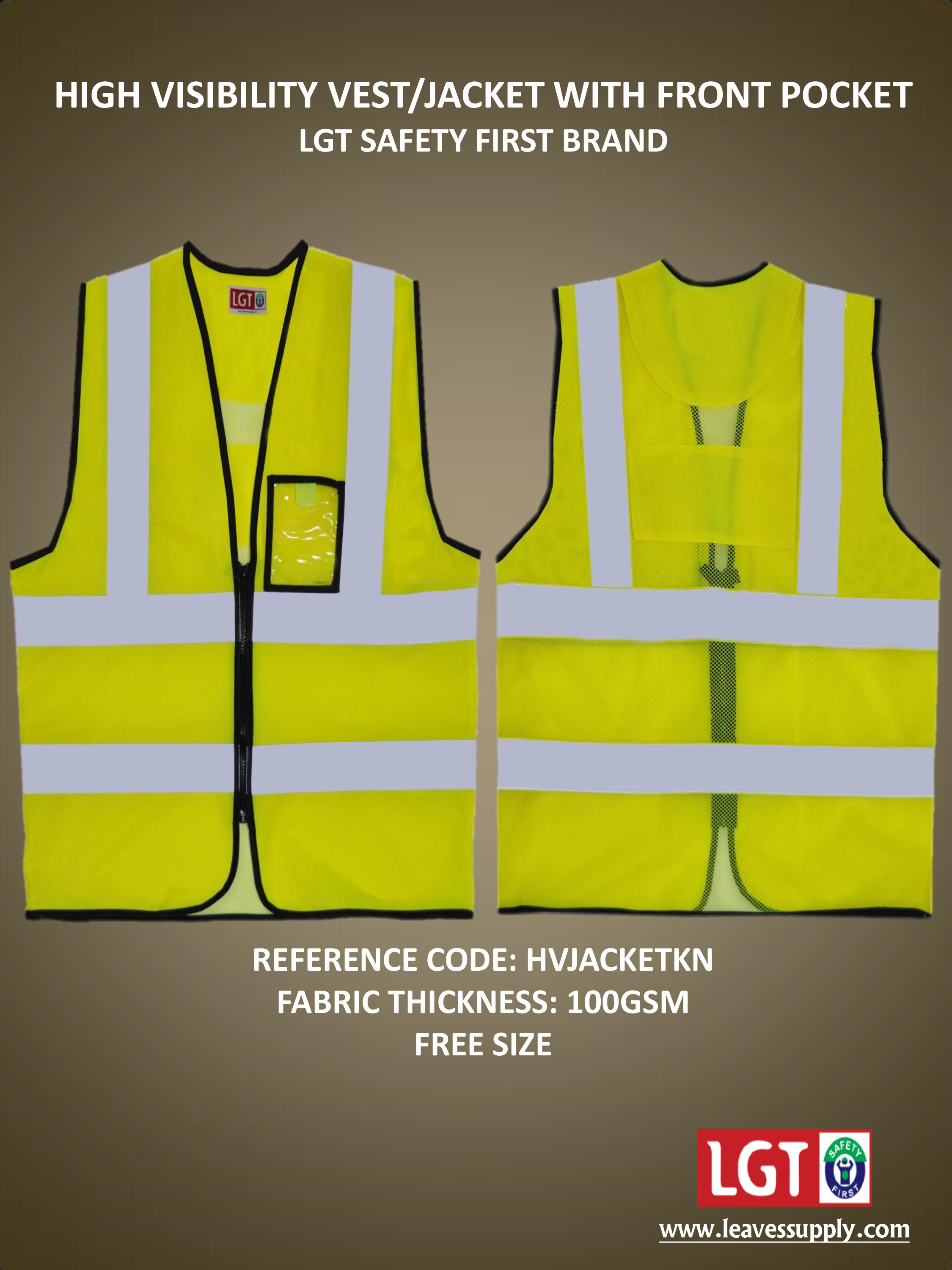 Green Safety Jackets with Pocket