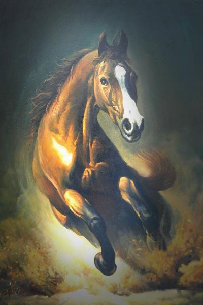 running wild horse oil painting manufacturer in