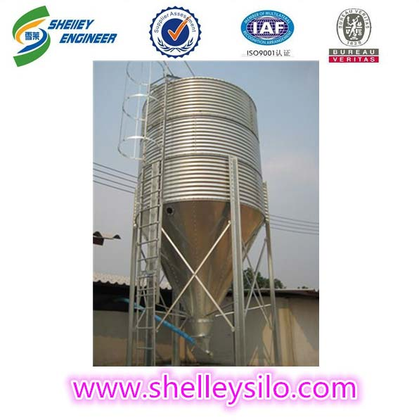Bolted assembly livestock feed grain silo for feed mill