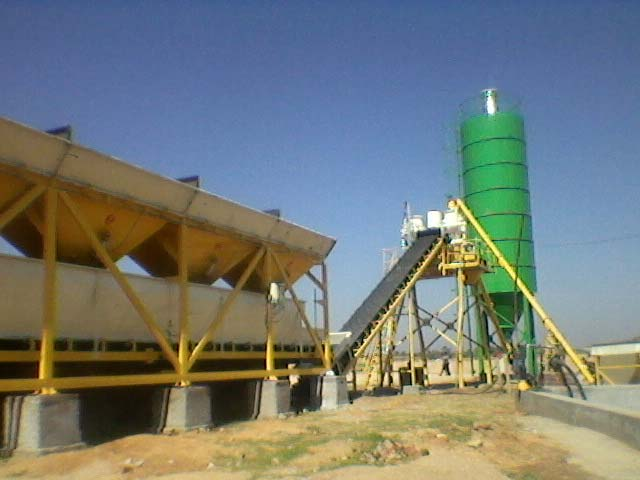 Static Inline Hopper Concrete Batching Plant with Twin Shaft