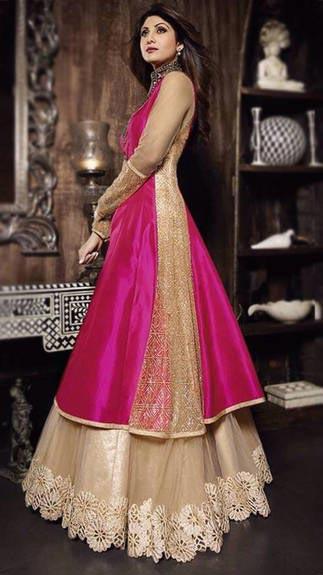 Fs1860 Georgette Embrodary Work Anarkali Type Gown (Fs1860)