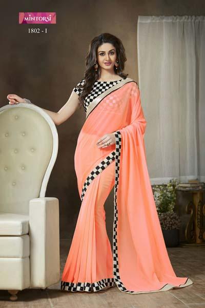 9a5a273568 Designer Embroidered Dark Peach Color Faux Georgette Party Wear Saree  (VAR1802ORPEACH)