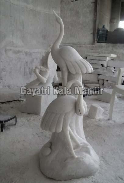 Marble Crane Statue