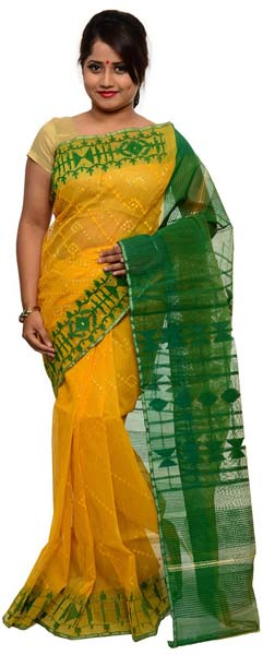 029c43f74c Yellow and Green Dhakai Jamdani Sarees Manufacturer in Bangalore ...