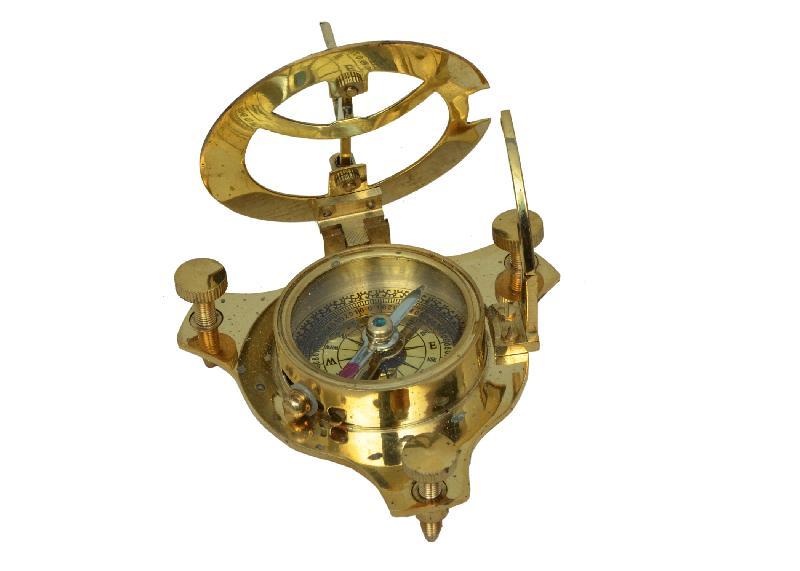 "Antique Nautical BRASS SUNDIAL COMPASS Maritime Vintage Style 4/"" Nautical Decor"