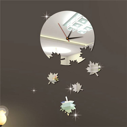 Buy Silver Color 4pcs Maple Leaf Mirror 3d Diy Acrylic
