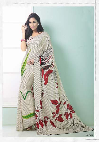 dcee0da952 White Color Printed Crepe Silk Saree Manufacturer in Surat Gujarat ...