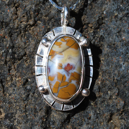 Jasper Pendant - Sterling Silver Necklace - Artisan Jewelry