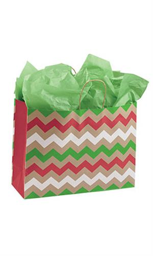 Christmas Chevron Paper Shopping Bags