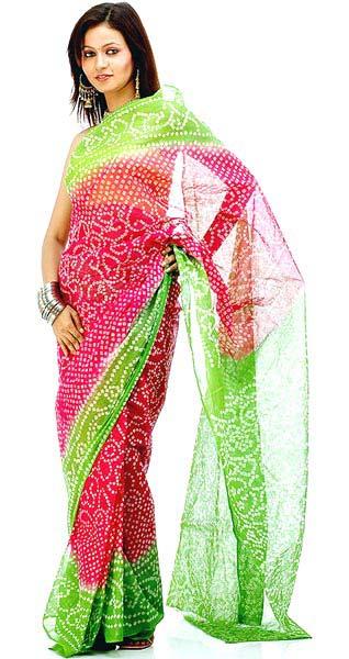 Cotton Bandhni Sarees