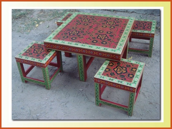 hand painted coffee table indian painted furniture manufacturer
