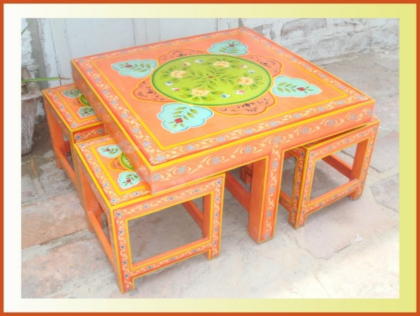 Hand Painted Coffee Table With Stool   Indian Painted Furniture (ACE PNT084)