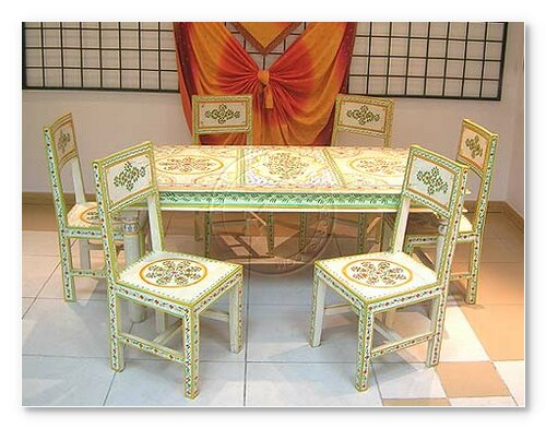 Hand painted dining table indian painted furniture for Indian furniture