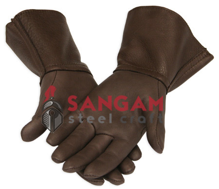 BROWN LEATHER HISTORICAL GLOVES (#SA0068)