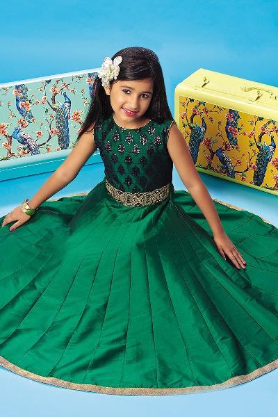 Silk Party Wear Kids Gown (PM-95003)