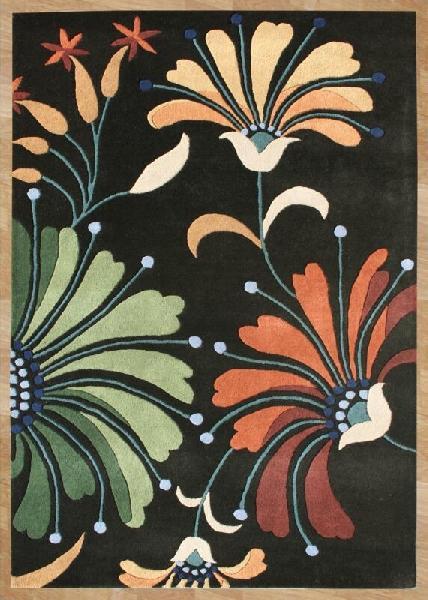 Floral Pattern Hand Tufted Black Carpet
