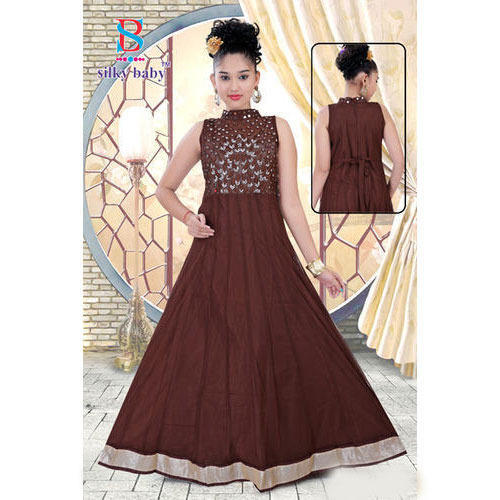Border Party Wear Kids Gown