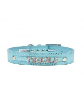 7 Letters Teal Blue Personalised Collar
