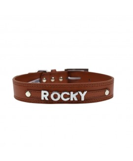 7 Letters Teal Brown Personalised Collar